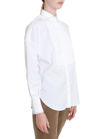Brunello Cucinelli White Shirt With Embellished Details