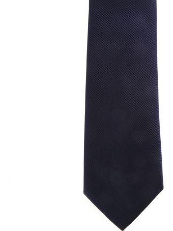 Salvatore Ferragamo Navy Silk Tie With Salvatore Ferragamo Signature