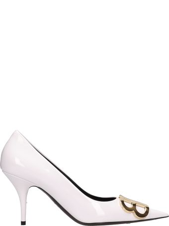 Balenciaga Bb White Patent Leather Pumps