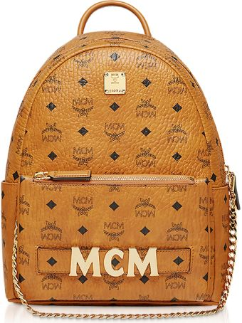 MCM Cognac Trilogie Stark Small Backpack