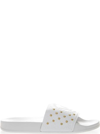 Versace White Rubber Mini Studs Slipper Sandal