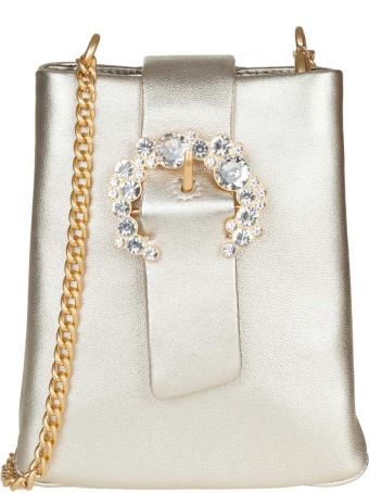 Tory Burch Platinum Color Leather Handle Holder