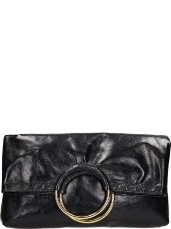 L'Autre Chose Black Leather Clutch