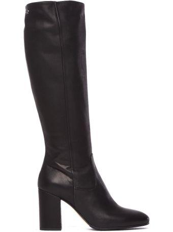 Fabi Heel Boot In Smooth Black Leather