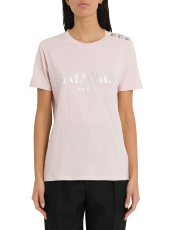 Balmain Logoed Tee With Three Buttons On Shoulder