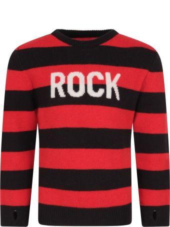 Zadig & Voltaire Red And Black Sweater For Boy With White Writing