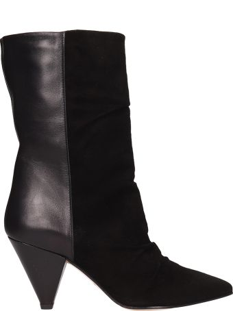 Marc Ellis Black Suede And Leather Ankle Boots