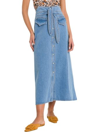 Nanushka Alma Belted Denim Midi Skirt
