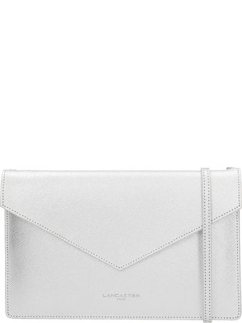 Lancaster Paris Silver Laminated Leather Clutch