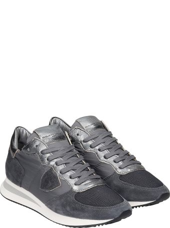 Philippe Model Trpx L Sneakers In Grey Suede And Fabric