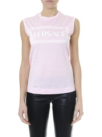 Versace Embroidered Logo Tank Top Pink/white