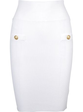 Balmain Ribbed Fitted Skirt