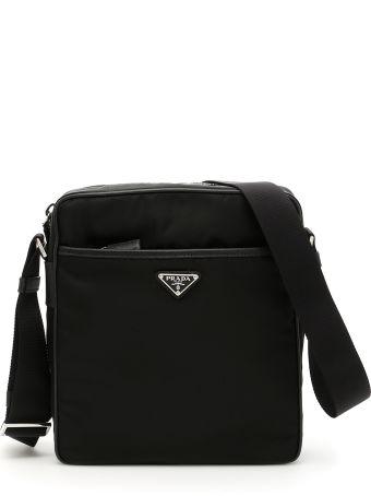 Prada Nylon And Saffiano Messenger Bag