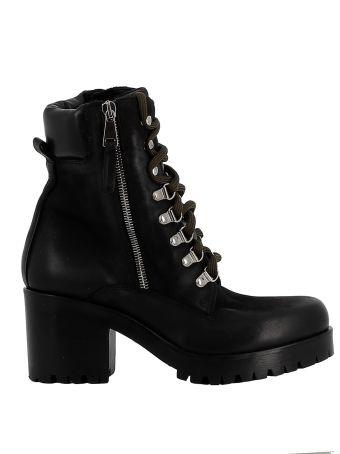 Elena Iachi Black Leather Ankle Boots