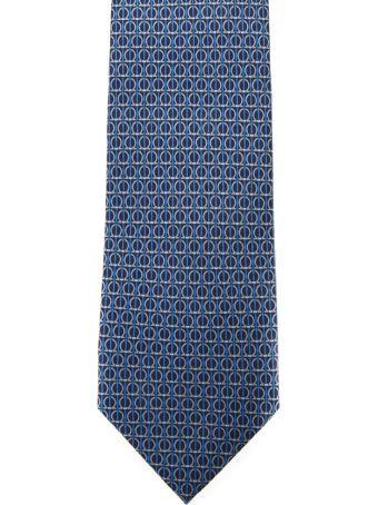 Salvatore Ferragamo Light Blue Silk Gancini Printed Tie