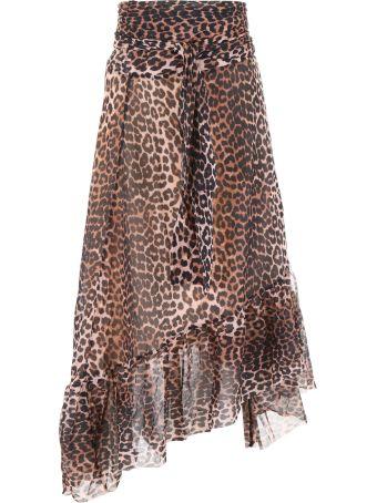 Ganni Leopard Printed Skirt