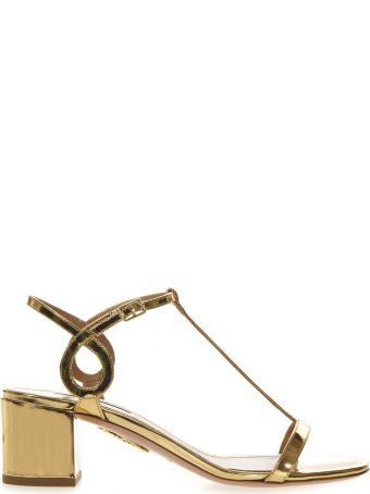 Aquazzura Low Gold Leather Sandal