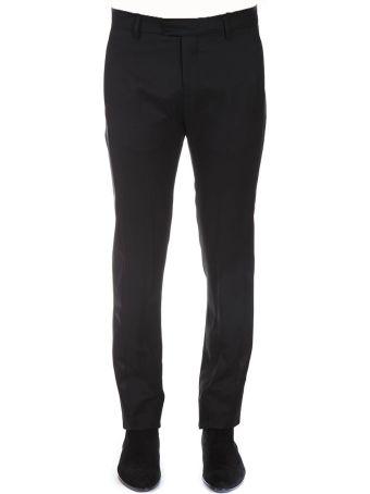 Les Hommes Classic Black Wool & Silk Pants