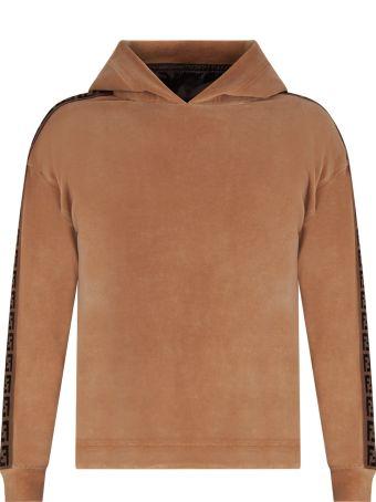 Fendi Camel Kids Sweatshirt With Iconic Double Ff