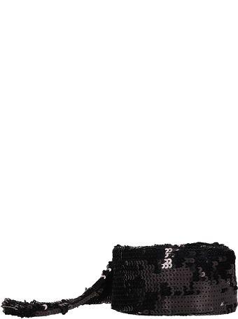 ATTICO Black Embroidered Sequinned Belt