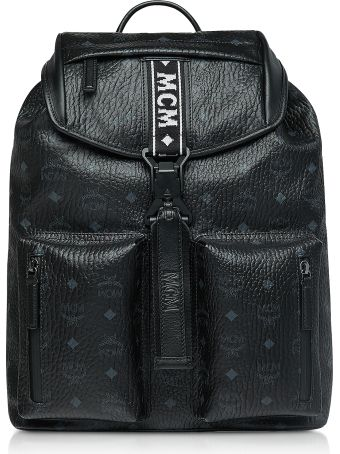 MCM Black Visetos Raymonde Two Pocket Medium Backpack