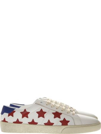 Saint Laurent Sneakers Court Sl/06 In White Leather With Red Stars Placement