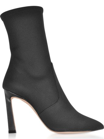 Stuart Weitzman Rapture 100 Black Nylon High Heel Boots