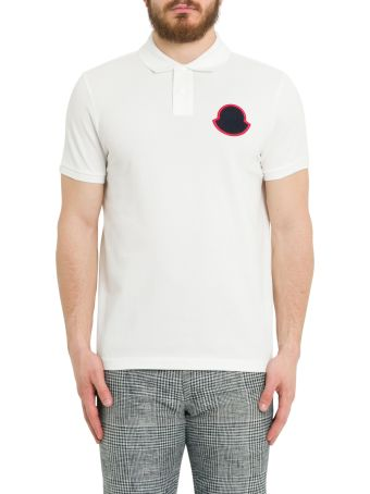 Moncler Polo Shirt With Big Logo Patch On Chest