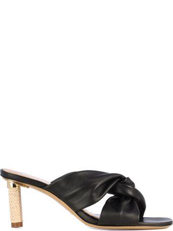 Jacquemus Knot Detal And Raffia Heel/les Mules Bellagio