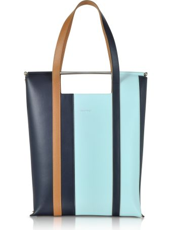 Delpozo Vertical Striped Patent Leather And Calfskin Great Tote With Handles