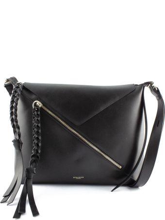 Nina Ricci Shoulder Bag In Black Leather With Fringe.