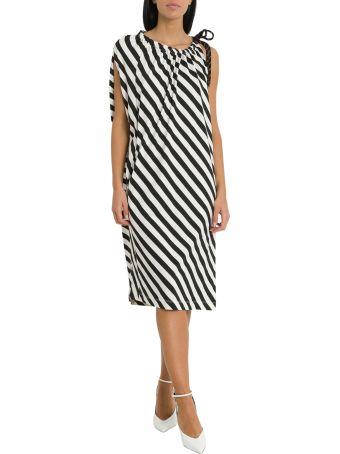 Dries Van Noten Diagonal Stripes Asymmetric Dress