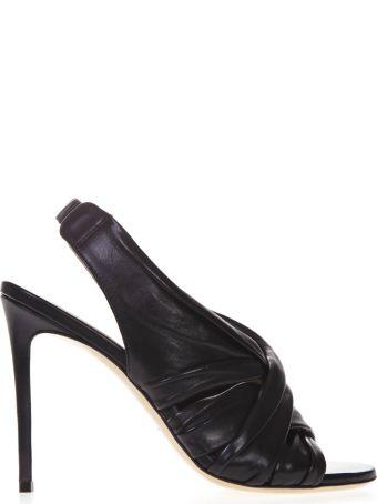 Aldo Castagna Black Nappa Leather Sandals