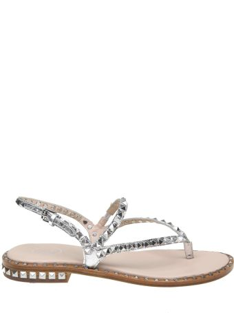 Ash Silver Leather Peps Sandals In Silver Leather