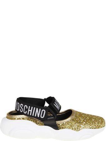 Moschino Teddy Run Sandal In Gold Glitter