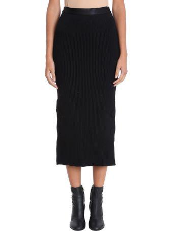 Maison Flaneur Buttons Black Knitted Skirt