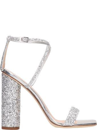 Giuseppe Zanotti Silver Glitter Tara Sandals
