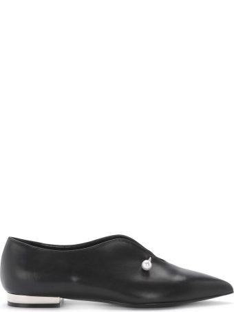 Coliac Giada Black Leather Jewel Flat Shoes