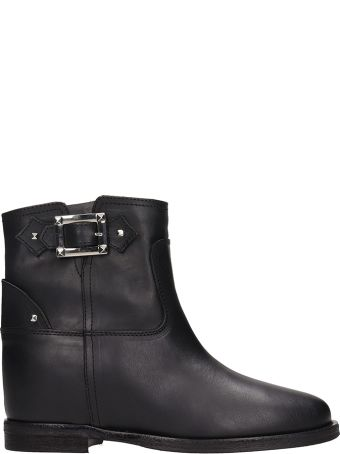 Via Roma 15 Buckle Black Leather Ankle Boots