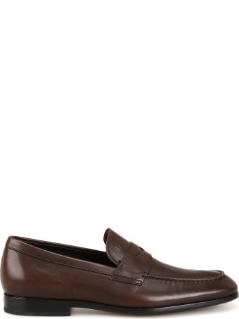 Tod's Tapered Toe Dark Brown Leather Loafers Xxm51b00010d90s800