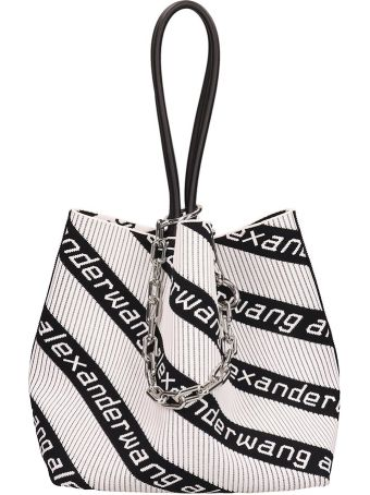 Alexander Wang White And Black Fabric Roxy Small Tote Bag