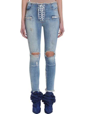 Ben Taverniti Unravel Project Vintage Lace Up Skinny Jeans