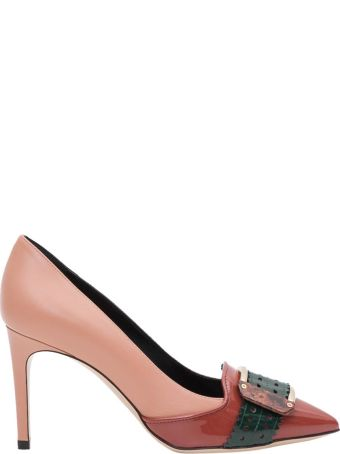 Pollini Nude Décolleté With Green Contrast Buckle