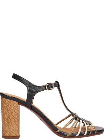 Chie Mihara Gold Leather Bandida Sandals
