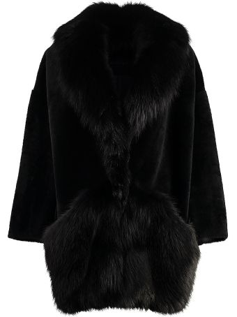 Blancha Merino Fur Coat With Fox Fur Trimming