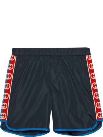 Gucci Blue Swimsuit With Logo Bands
