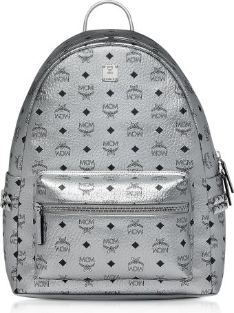 MCM Berlin Silver Side Studs Visetos Stark Backpack 40