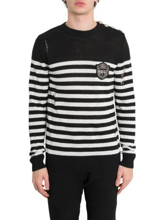 Balmain Striped Knit Jumper With Patch