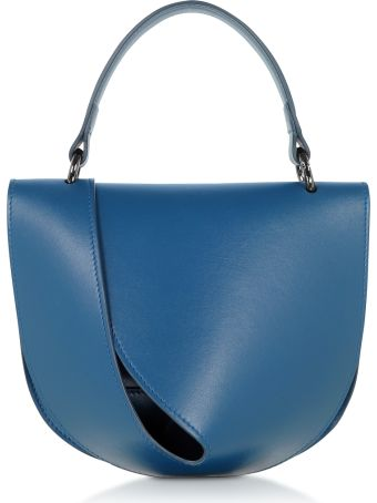 Giaquinto Petrol Blue Leather Candy Saddle Shoulder Bag