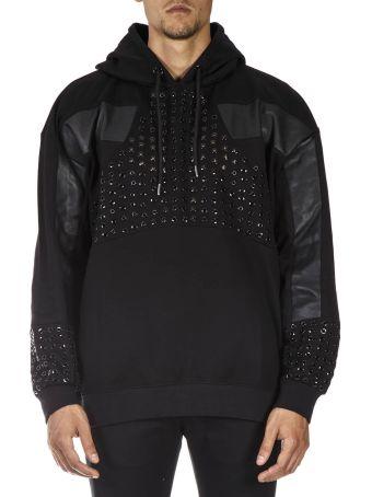 Les Hommes Black Cotton Hoodie Metal Insert Sweatshirt